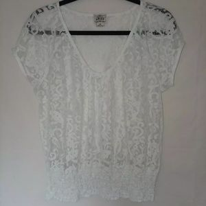 Ariat lace top w/ elastic hem line womens size L